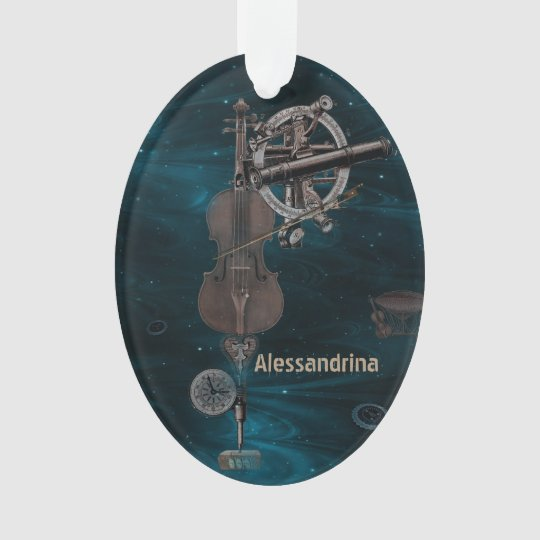 Mechanical Violin Dark Sky Custom Name Pendant