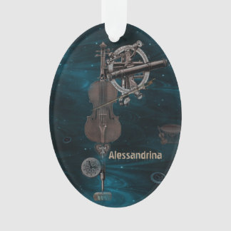 Mechanical Violin Dark Sky Custom Name Pendant Ornament