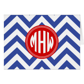 Med Blue Wht LG Chevron Red Circle 3I Monogram Card