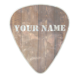 Med. Gauge  .80mm Guitar Picks, Wood Image Pearl Celluloid Guitar Pick