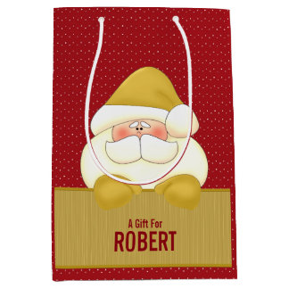 MED: Red and Gold Santa Themed Medium Gift Bag