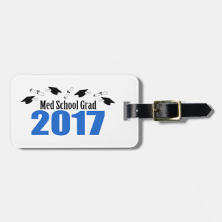 Med School Grad 2017 Caps And Diplomas (Blue) Luggage Tag