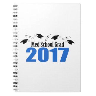 Med School Grad 2017 Caps And Diplomas (Blue) Notebook