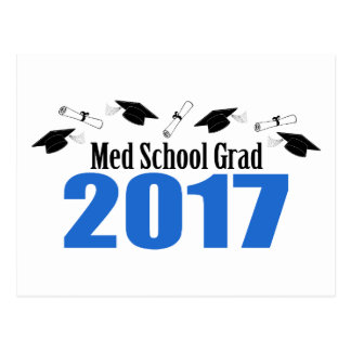 Med School Grad 2017 Caps And Diplomas (Blue) Postcard