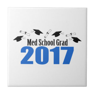 Med School Grad 2017 Caps And Diplomas (Blue) Tile