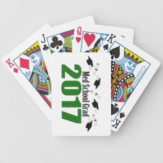 Med School Grad 2017 Caps And Diplomas (Green) Bicycle Playing Cards
