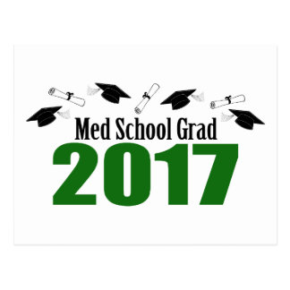 Med School Grad 2017 Caps And Diplomas (Green) Postcard
