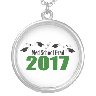 Med School Grad 2017 Caps And Diplomas (Green) Silver Plated Necklace
