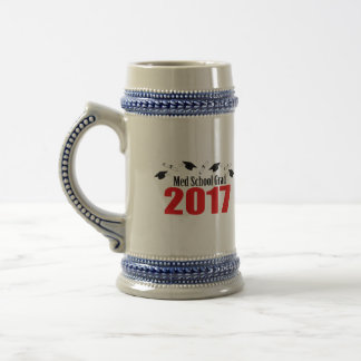 Med School Grad 2017 Caps And Diplomas (Red) Beer Stein