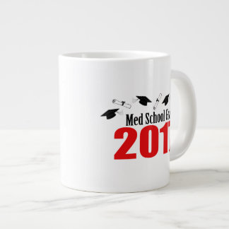 Med School Grad 2017 Caps And Diplomas (Red) Large Coffee Mug