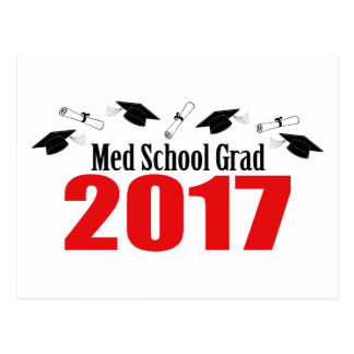 Med School Grad 2017 Caps And Diplomas (Red) Postcard