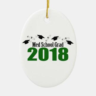 Med School Grad 2018 Caps And Diplomas (Green) Ceramic Ornament
