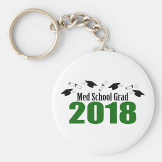 Med School Grad 2018 Caps And Diplomas (Green) Keychain