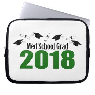 Med School Grad 2018 Caps And Diplomas (Green) Laptop Sleeve