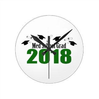 Med School Grad 2018 Caps And Diplomas (Green) Round Clock