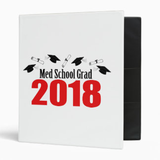 Med School Grad 2018 Caps And Diplomas (Red) 3 Ring Binder