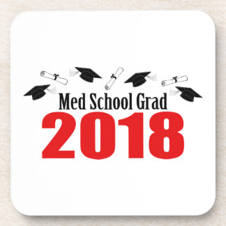 Med School Grad 2018 Caps And Diplomas (Red) Coaster