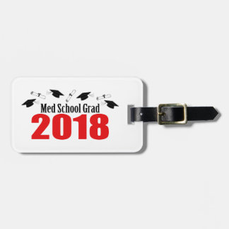 Med School Grad 2018 Caps And Diplomas (Red) Luggage Tag