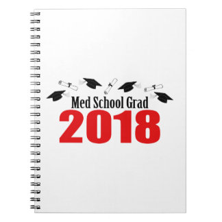 Med School Grad 2018 Caps And Diplomas (Red) Notebook