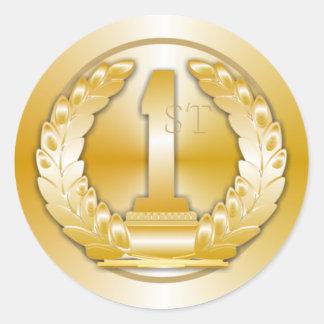 Médaille d or autocollant rond