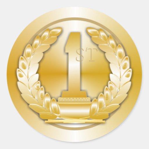 Médaille d'or autocollant rond