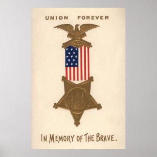 Médaille Eagle de guerre civile des syndicats de d Poster