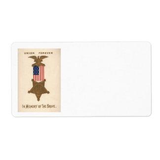 Médaille Eagle de guerre civile des syndicats de Étiquette D'expédition