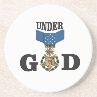 medal under god beverage coaster