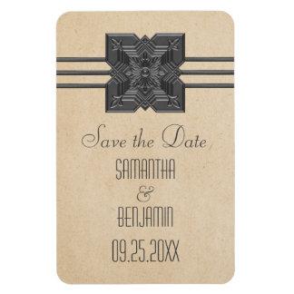 Medallion Border Save the Date Magnet, Beige Rectangular Photo Magnet