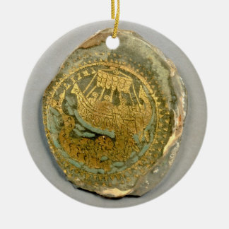Medallion depicting Jonah and the whale, Roman, 4t Round Ceramic Ornament
