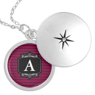 Medallion Redondo Silver Pink Stripes Monogram Silver Plated Necklace