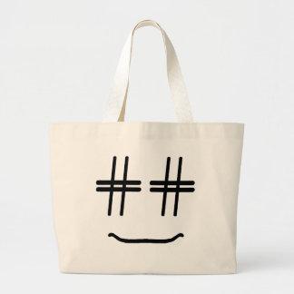 # médias sociaux drôles mignons de visage souriant grand sac