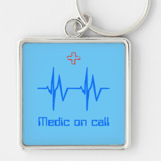 Medic on Call with ecg trace and red cross Silver-Colored Square Keychain