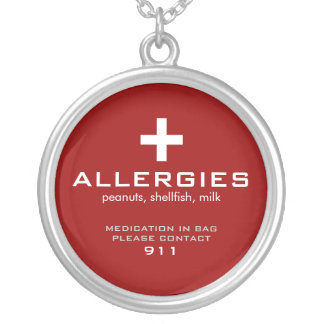 Medical Alert, Allergies Silver Plated Necklace