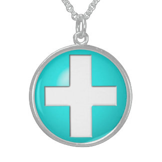 Medical Alert - Aqua Sterling Silver Necklace