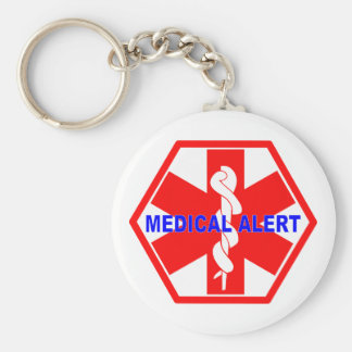 MEDICAL ALERT ID SYMBOL BASIC ROUND BUTTON KEYCHAIN