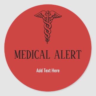 Medical Alert Red Caduceus Symbol Custom Text Classic Round Sticker