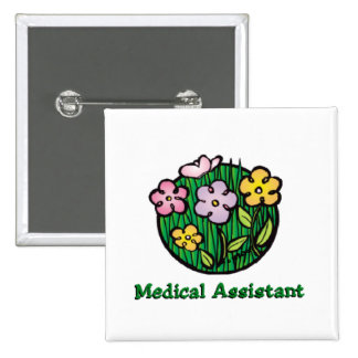Medical Assistant Blooms 2 2 Inch Square Button