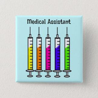 Medical Assistant Buttons Syringe Design