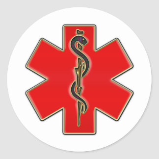 Medical Caduceus Classic Round Sticker