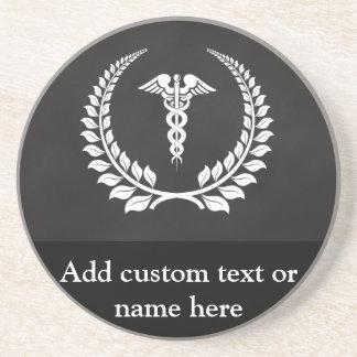 Medical Caduceus Laurel Coaster