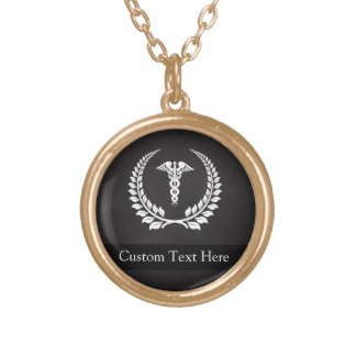Medical Caduceus Laurel Gold Plated Necklace
