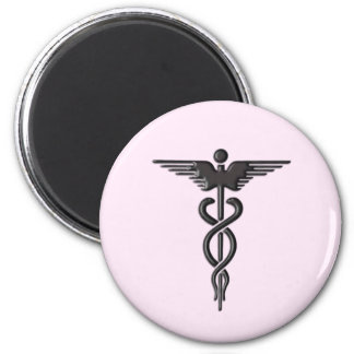 Medical Caduceus on Pink Magnet