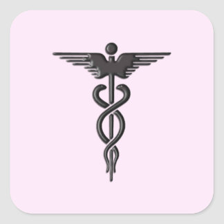 Medical Caduceus on Pink Square Sticker