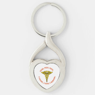 Medical Caduceus Shield Keychain