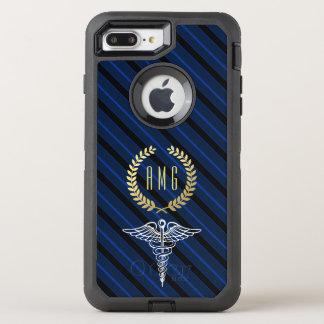 Medical Caduceus Symbol Custom Initials Navy OtterBox Defender iPhone 8 Plus/7 Plus Case
