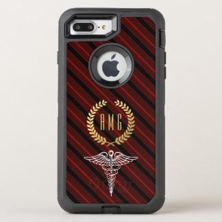 Medical Caduceus Symbol Custom Initials Red OtterBox Defender iPhone 8 Plus/7 Plus Case