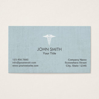 Medical Caduceus Symbol Faux Linen Light Blue Business Card
