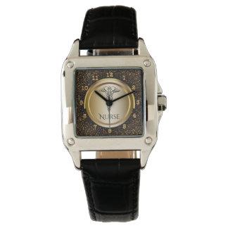 Medical Caduceus Symbol | Nurses Nursing RN Gold Wrist Watches