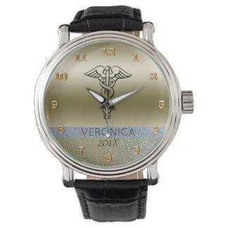 Medical Caduceus Symbol | Nurses Nursing RN Gold Wristwatch